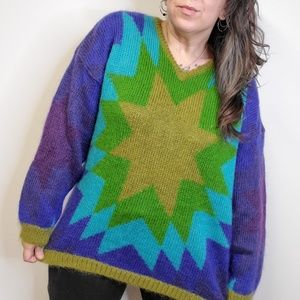 Vtg 90s KIKIT Fuzzy Mohair Ohio Star Sweater